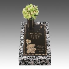 Teddy Bear Children Bronze Grave Marker