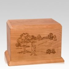 Tee Time Individual Cherry Wood Urn