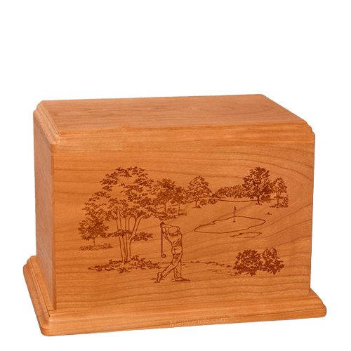 Tee Time Individual Mahogany Wood Urn