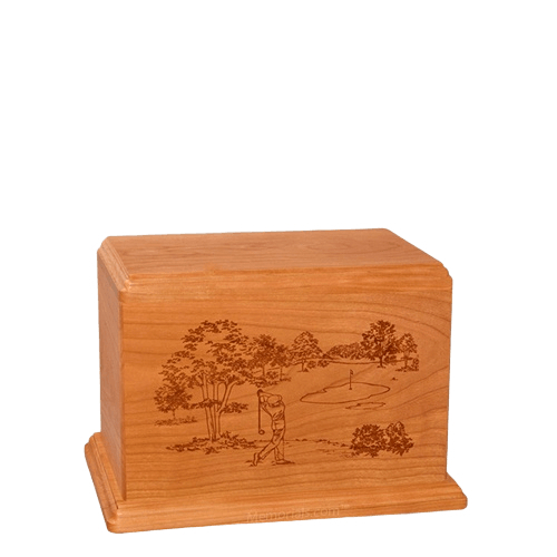 Tee Time Small Mahogany Wood Urn