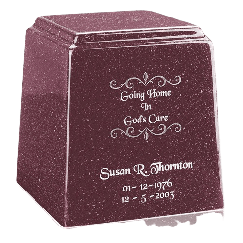 Temple Niche Raspberry Marble Urn