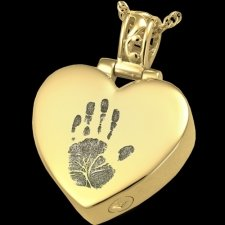 Tender Heart 14k Gold Cremation Print Keepsake