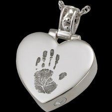 Tender Heart 14k White Gold Cremation Print Keepsake