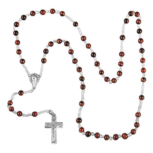 Tiger Eye Silver Cremation Rosary