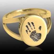 Timeless 14k Gold Cremation Print Ring