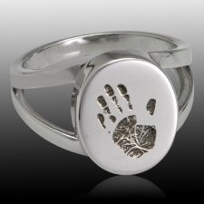Timeless Sterling Cremation Print Ring