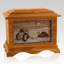 Tractor & Moon Mahogany Cremation Urn