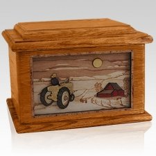 Tractor & Moon Mahogany Memory Chest Cremation Urn