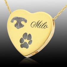 Traditional Heart Pet 14k Gold Prints Cremation Keepsake