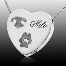 Traditional Heart Pet 14k White Gold Prints Cremation Keepsake
