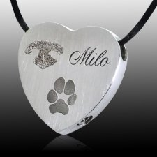 Traditional Heart Pet Stainless Prints Cremation Keepsake