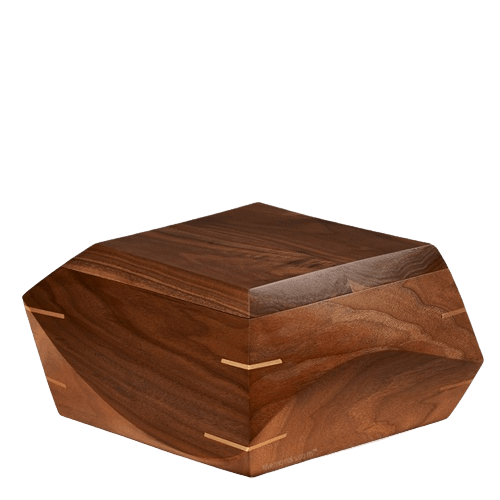 Trapezium Walnut Wood Urn