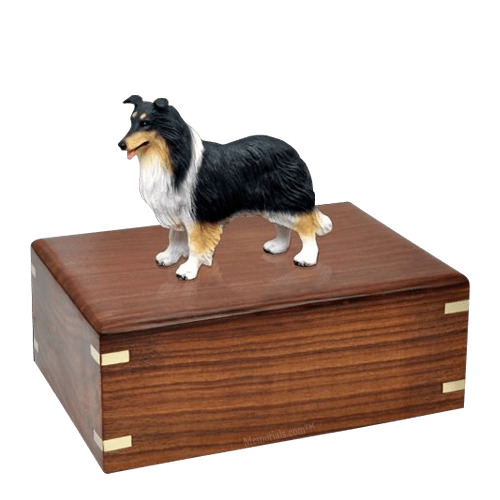 Tricolor Border Collie Large Doggy Urn