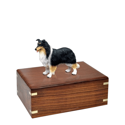 Tricolor Border Collie Small Doggy Urn