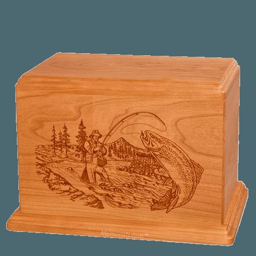 Trout Fishing Companion Mahogany Wood Urn
