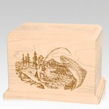 Trout Fishing Companion Maple Wood Urn