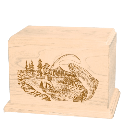 Trout Fishing Companion Maple Wood Urn
