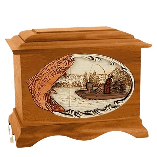 Trout Fishing Mahogany Cremation Urn