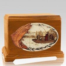 Trout Fishing Mahogany Hampton Cremation Urn