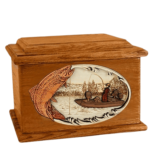 Trout Fishing Mahogany Memory Chest Cremation Urn
