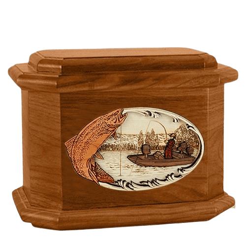 Trout Fishing Mahogany Octagon Cremation Urn