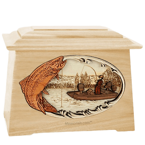 Trout Fishing Maple Aristocrat Cremation Urn