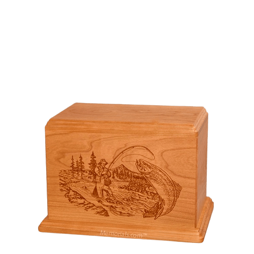 Trout Fishing Small Mahogany Wood Urn