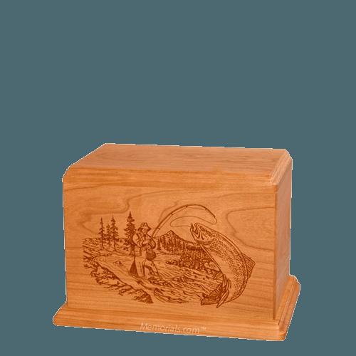 Trout Fishing Small Mahogany Wood Urn