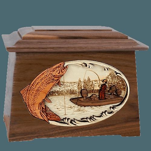 Trout Fishing Walnut Aristocrat Cremation Urn
