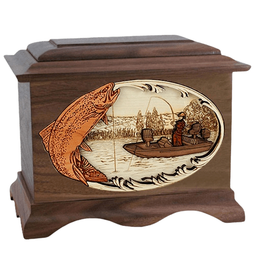 Trout Fishing Walnut Cremation Urn