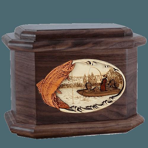 Trout Fishing Walnut Octagon Cremation Urn