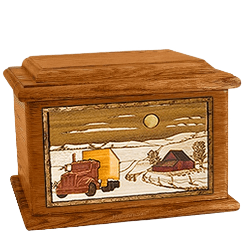 Trucker Mahogany Memory Chest Cremation Urn