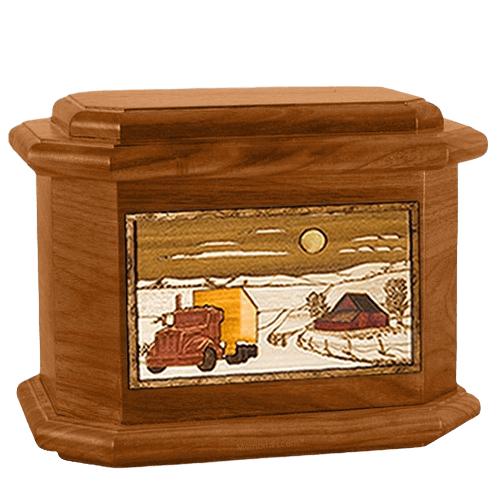 Trucker Mahogany Octagon Cremation Urn