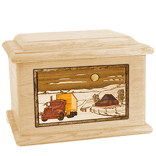 Trucker Maple Memory Chest Cremation Urn