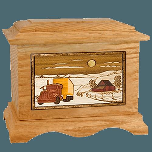 Trucker Oak Cremation Urn