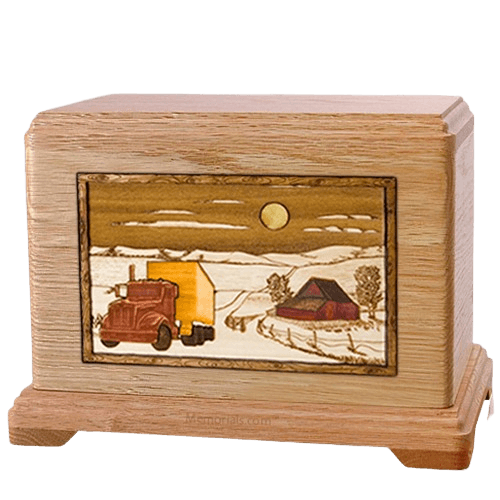 Trucker Oak Hampton Cremation Urn