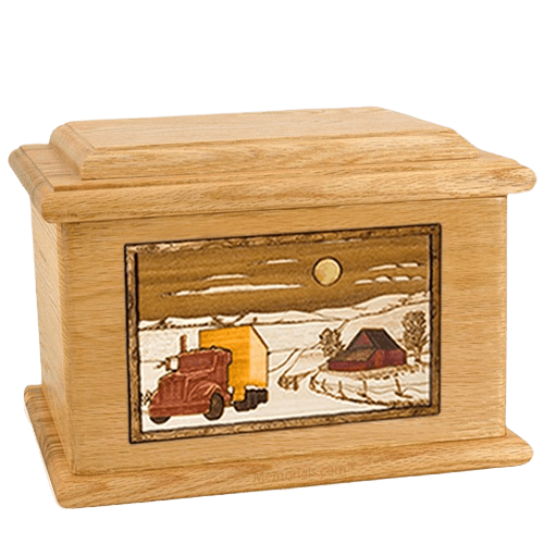 Trucker Oak Memory Chest Cremation Urn