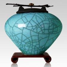 Raku Turquoise Blue Cremation Urns