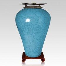 Raku Tall Turquoise Blue Cremation Urns