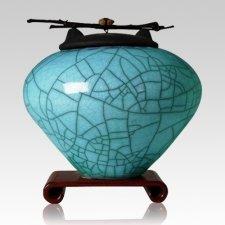 Raku Turquoise Blue Extra Large Cremation Urn