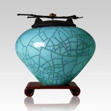 Raku Turquoise Blue Large Cremation Urn
