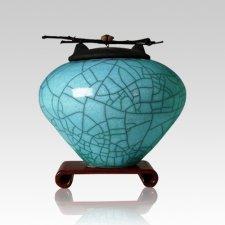 Raku Turquoise Blue Medium Cremation Urn
