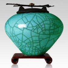 Raku Turquoise Green Cremation Urns