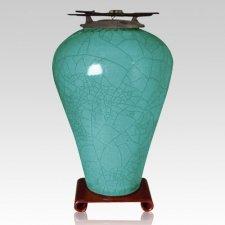 Raku Tall Turquoise Green Cremation Urns