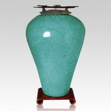 Raku Tall Turquoise Green Companion Cremation Urn