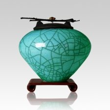 Raku Turquoise Green Medium Cremation Urn