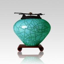Raku Turquoise Green Small Cremation Urn