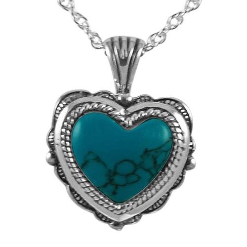 Etched Turquoise Heart Keepsake Pendant III