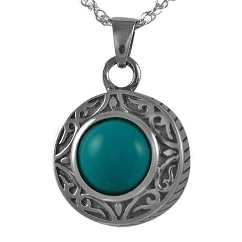 Round Turquoise Antique Keepsake Pendant
