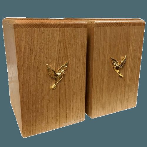 Two Doves Oak Companion Urn